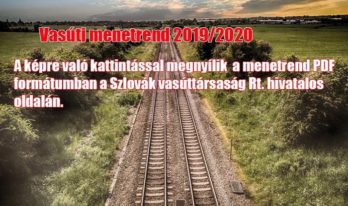 Vasúti menetrend 2019/2020